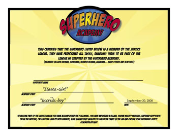 Certificate superhero